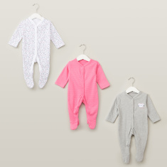 Juniors Print Detail Closed Feet Sleepsuit - Set of 3