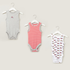 Juniors Sleeveless Bodysuit with Prints - Set of 5