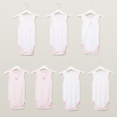 Juniors Sleeveless Bodysuits with Prints - Set of 7