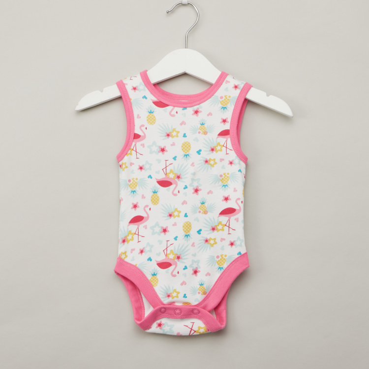 Juniors Printed Bodysuit with Round Neck - Set of 5