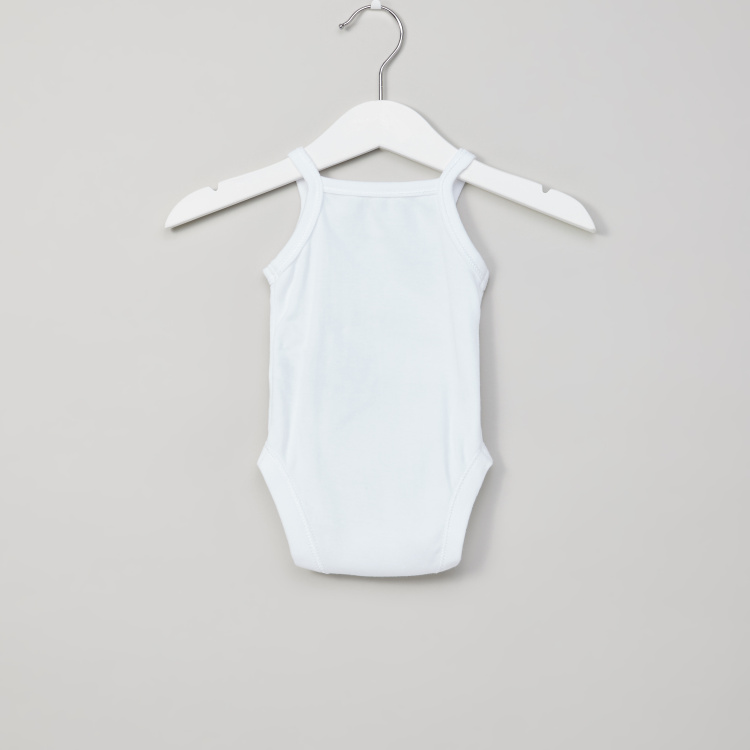 Juniors Plain Sleeveless Bodysuit with Press Button Closure - Set of 3
