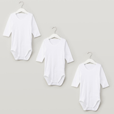Juniors Plain Bodysuit with Round Neck and Long Sleeves - Set of 3