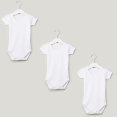Juniors Short Sleeves Bodysuit with Snap Button Closure - Set of 3