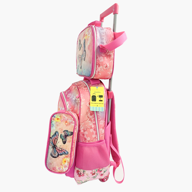 Juniors Butterfly Print 3-Piece Trolley Backpack Set