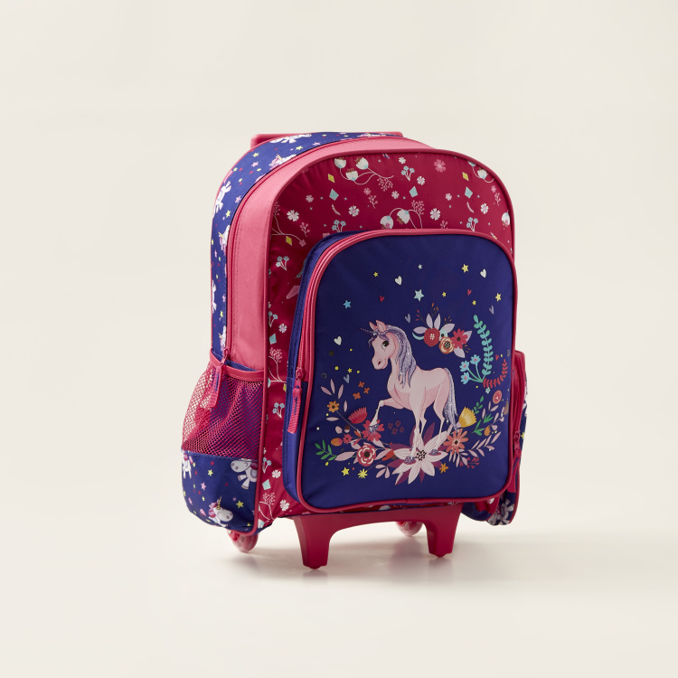 Juniors Unicorn Print 3-Piece Trolley Backpack Set