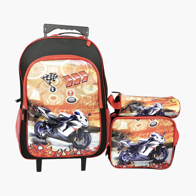 Juniors Printed 3-Piece Trolley Backpack Set