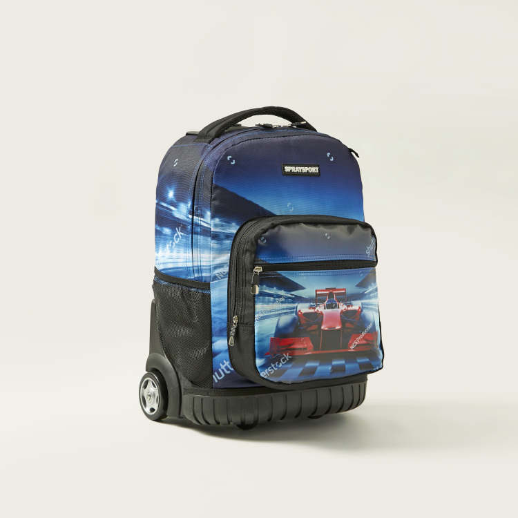 Juniors Car Print 3-Piece Trolley Backpack Set
