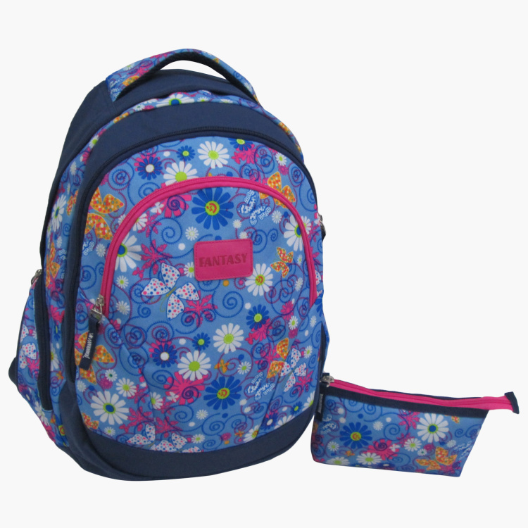 Juniors Floral Print Backpack with Pencil Case