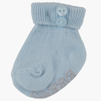 Giggles Textured Socks with Button Detail