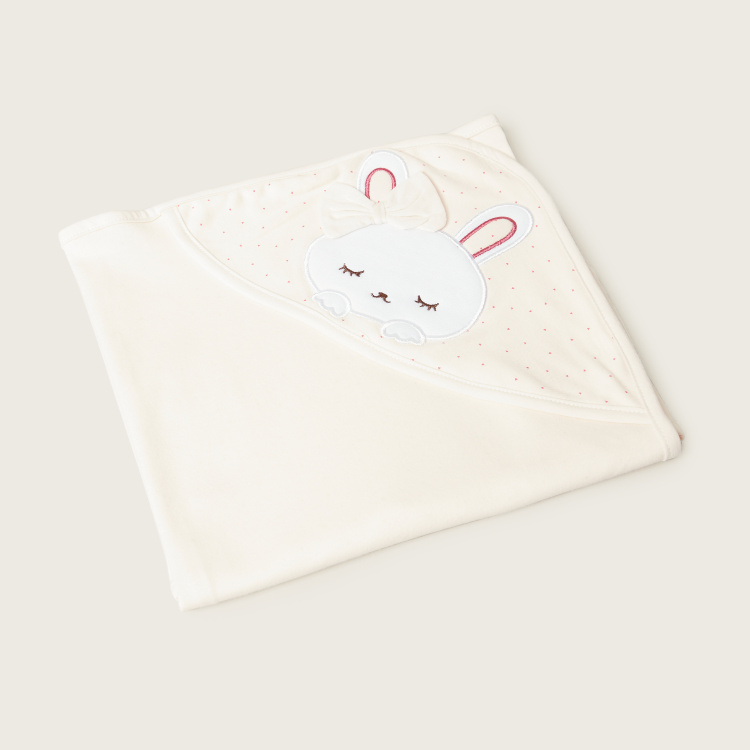 Juniors Bunny Embroidered Receiving Blanket - 80x80 cms