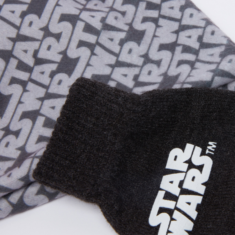 Star Wars Printed Beanie Cap with Gloves