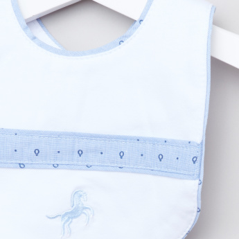 Giggles Piping Detail Bib with Snap Button Closure