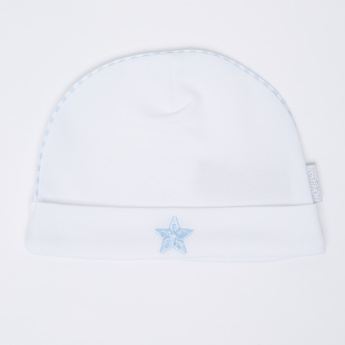 Giggles Star Embroidered Cap with Striped Piping Detail