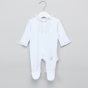 Giggles Frill Detail Long Sleeves Closed Feet Sleepsuit