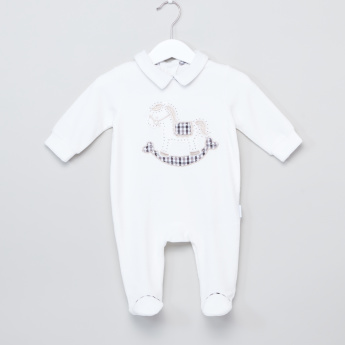 Giggles Applique Detail Closed Feet Long Sleeves Sleepsuit