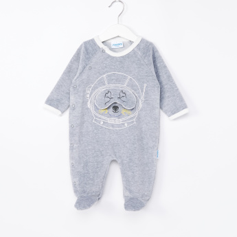 Juniors Dog Face Printed Closed Feet Sleepsuit