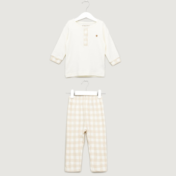 Giggles Henley Neck T-Shirt and Chequered Pyjama Set