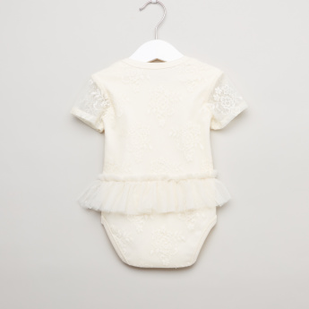 Giggles Lace Bodysuit with Short Sleeves and Mesh Ruffle