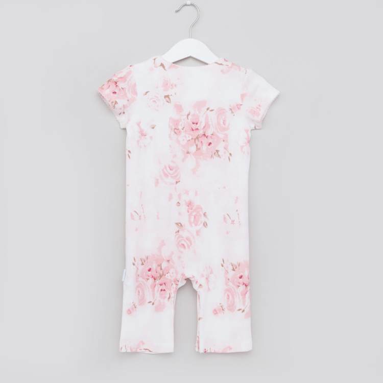 Giggles Printed Romper with Round Neck and Short Sleeves