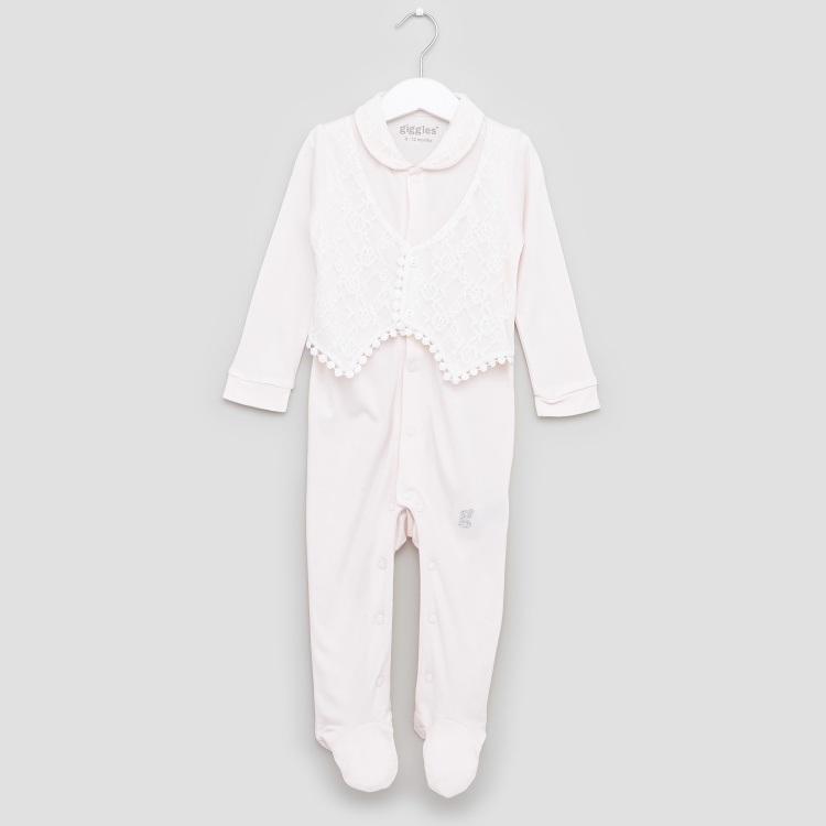 Giggles Lace Detail Closed Feet Sleepsuit with Long Sleeves