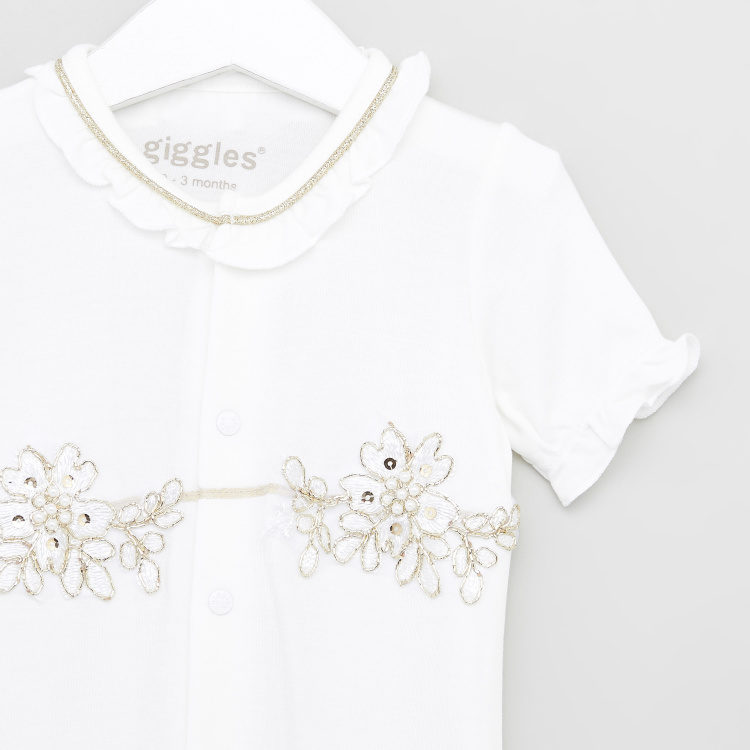 Giggles Embellished Detail Romper with Round Neck and Short Sleeves