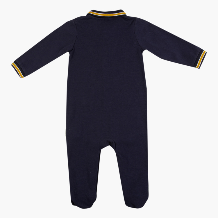Giggles Printed Polo Sleepsuit with Long Sleeves