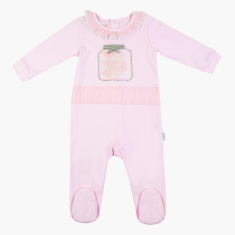 Giggles Applique Detailed Closed Feet Sleepsuit with Long Sleeves