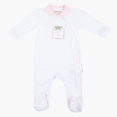 Giggles Textured Sleepsuit with Long Sleeves and Collar