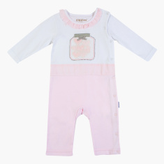 Giggles Textured Sleepsuit with Long Sleeves and Ruffle Detail