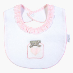 Giggles Embroidered Detail Bib with Press Button Closure