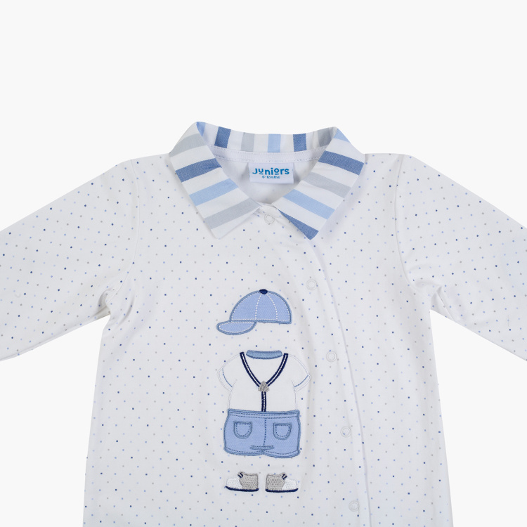 Giggles Striped Collared Polka Dot Print Sleepsuit with Long Sleeves