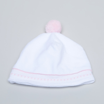 Giggles Embroidered Cap with Pom-Pom Detail