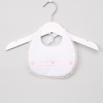 Giggles Frill and Floral Applique Detail Bib with Tie Ups