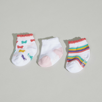 Juniors Printed Socks with Ribbed Hems - Set of 3