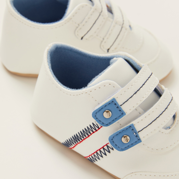 Juniors Stitch Detail Baby Shoes with Hook and Loop Closure