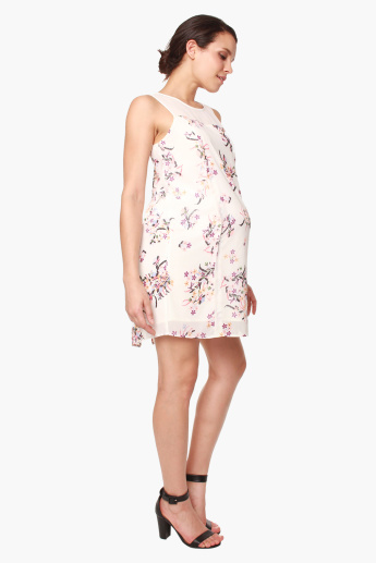 Spring Caylee Floral Printed Back Overlap Maternity Dress