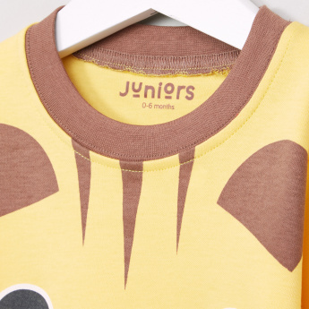 Juniors Tiger Printed Long Sleeves Top and Striped Pyjama Set