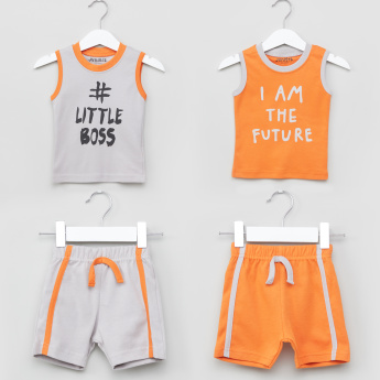 Juniors Printed Sleeveless T-Shirt with Shorts - Set of 2