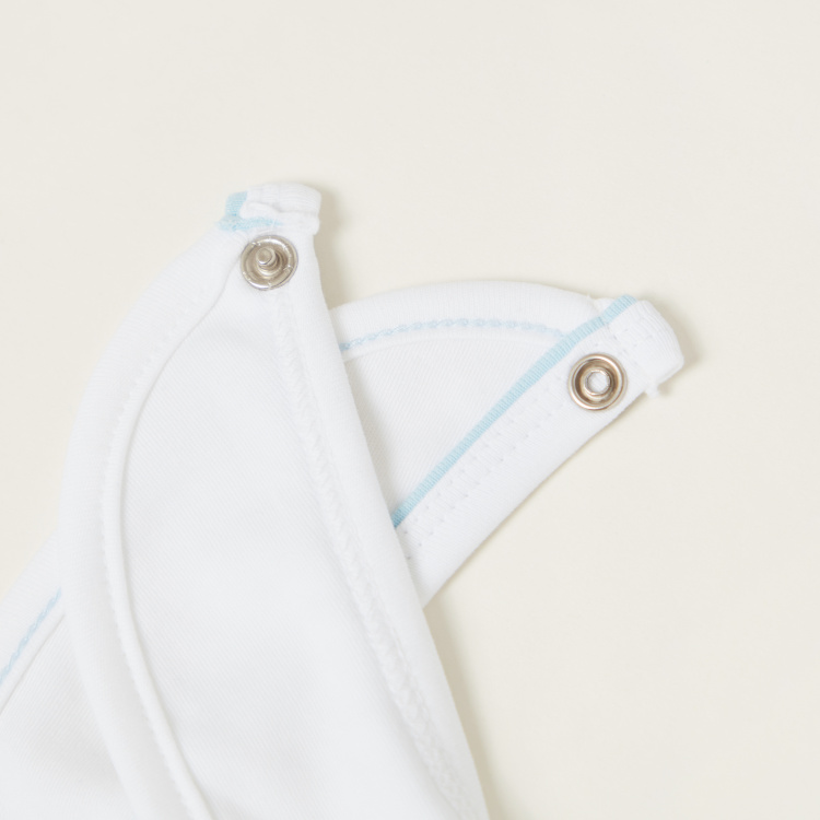 Juniors Car Embroidered Detail Bib with Press Button Closure