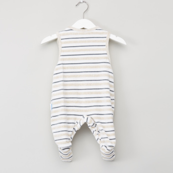 Juniors Striped Sleeveless Sleepsuit with Long Sleeves T-Shirt
