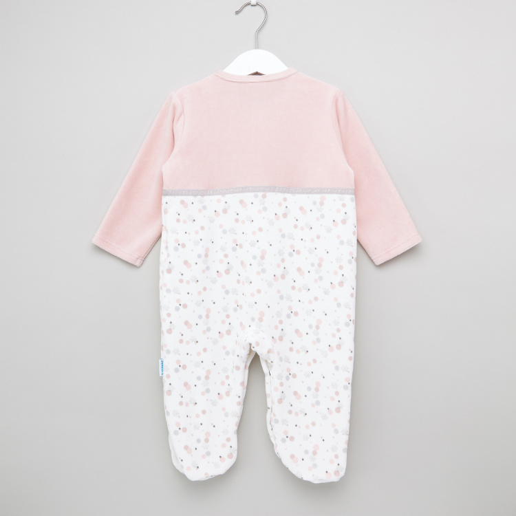 Printed Sleepsuit with Long Sleeves and Button Closure
