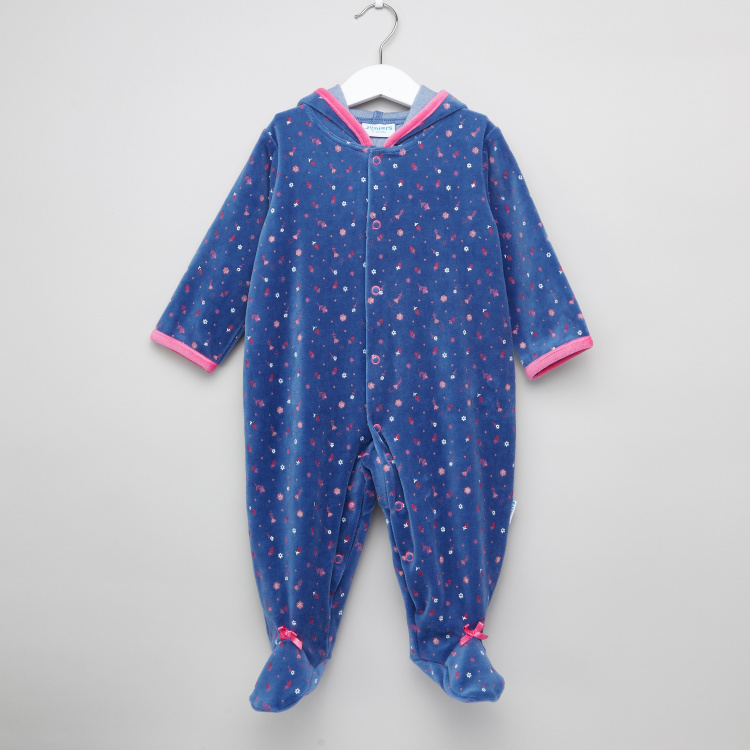 Juniors Printed Closed Feet Sleepsuit with Long Sleeves and Hood