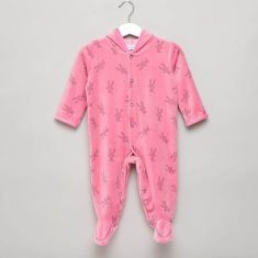 Graphic Print Sleepsuit with Long Sleeves and Hood