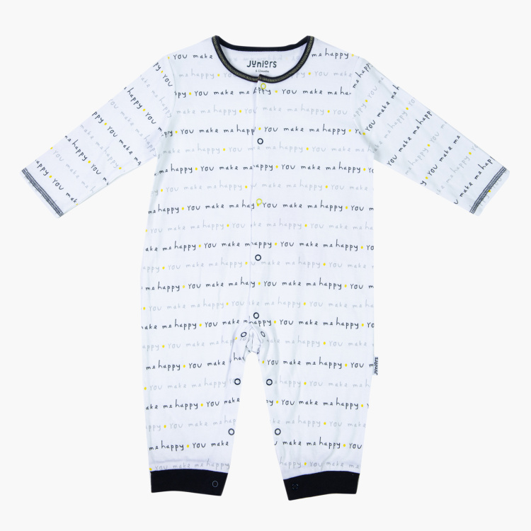 Juniors All-Over Print Sleepsuit with Long Sleeves