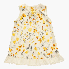 Juniors Floral Print Sleeveless Dress with Ruffle Detail