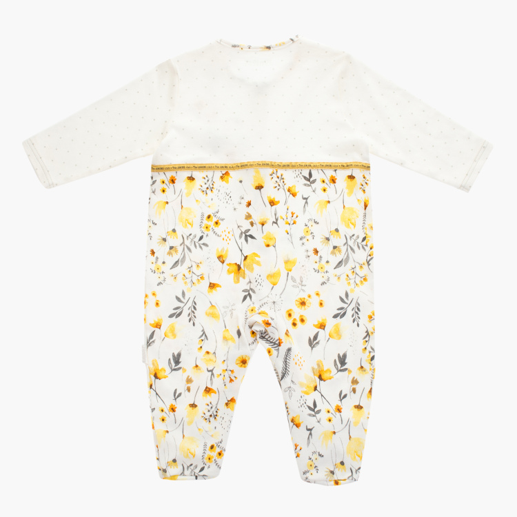Juniors Floral Print Sleepsuit with Round Neck and Long Sleeves