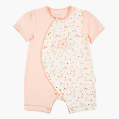 Juniors Printed Romper with Short Sleeves and Snap Button Closure
