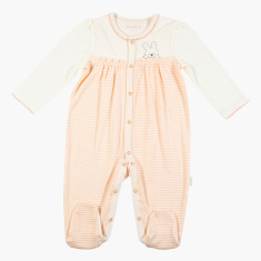 Juniors Striped Closed Feet Sleepsuit with Long Sleeves