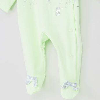 Giggles Printed Closed Feet Sleepsuit with Bow Applique