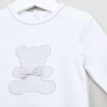Giggles Textured Sleepsuit with Applique